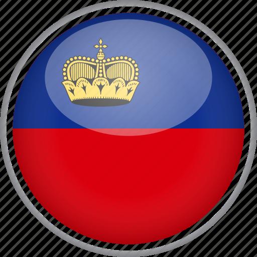 circle, country, flag, liechtenstein, national icon