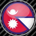 circle, country, flag, national, nepal