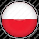 circle, country, flag, national, poland icon