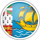 circle, country, flag, national, saint pierre and miquelon icon