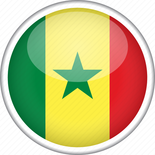 circle, country, flag, national, senegal icon