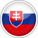 circle, country, flag, national, slovakia icon