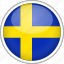 circle, country, flag, national, sweden icon