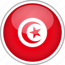 circle, country, flag, national, tunisia icon