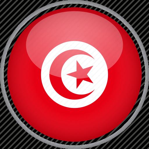 circle, country, flag, national, tunisia icon