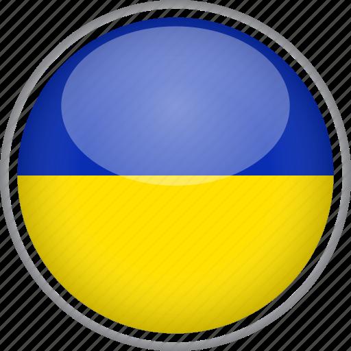 circle, country, flag, national, ukraine icon