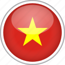 circle, country, flag, national, vietnam icon