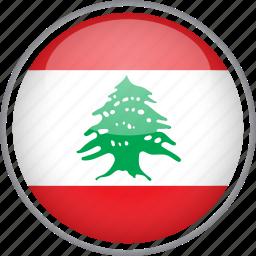 circle, country, flag, lebanon, national icon