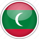circle, country, flag, maldives, national icon