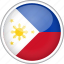 circle, country, flag, national, philippines icon