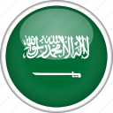 circle, country, flag, national, saudi arabia icon
