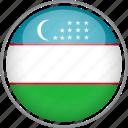 circle, country, flag, national, uzbekistan