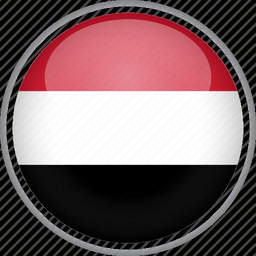 circle, country, flag, national, yemen icon