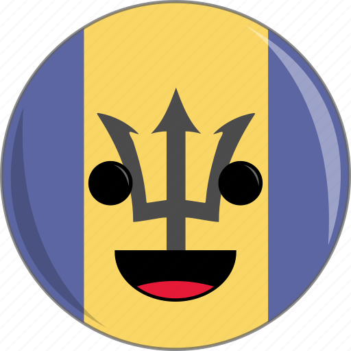 awesome, barbados, beach, country, cute, face, flags icon
