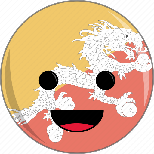 awesome, bhutan, country, cute, dragon, face, flags icon