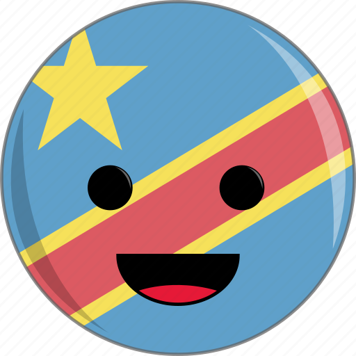 awesome, congo, country, cute, face, flags icon