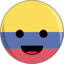 awesome, colombia, country, cute, face, flags, latino icon