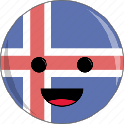 awesome, country, cute, face, flag, iceland icon