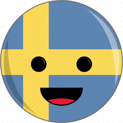 awesome, country, cute, face, flags, sweden icon