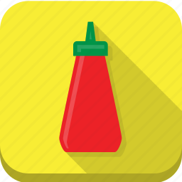 condiment, ketchup, red, tomato, yellow icon