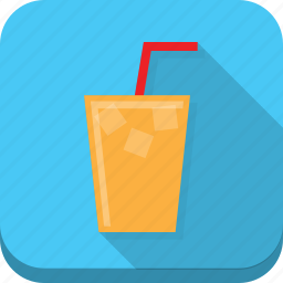 beverage, blue, cold, drink, glass, ice, straw icon