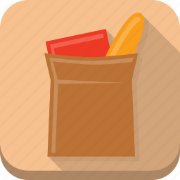 bag, beige, buy, general, paper bag, shopping icon