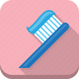 care, dentist, medical, personal, pink, toothbrush, toothpaste icon