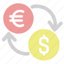 converter, currency exchange, dollar, euro, trade icon