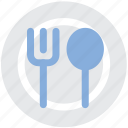 cutlery, fork, plate, spoon, tableware icon
