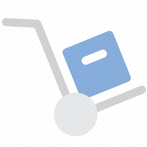 box, hand truck, logistics, package icon