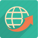 arrow, navigation, up, world icon