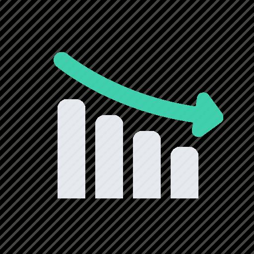 arrow, business, down, regress, schedule icon