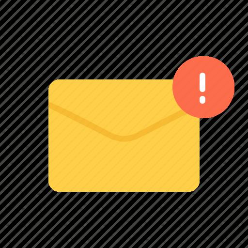 alert, envelope, letter, mail icon