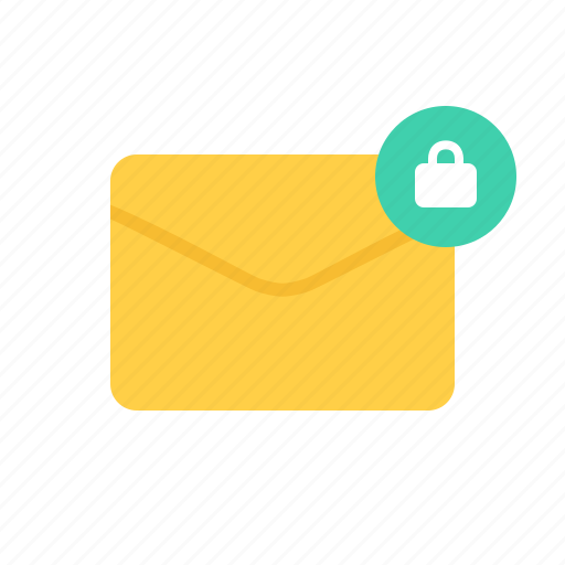 envelope, letter, lock, mail icon
