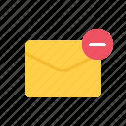 envelope, letter, mail, minus icon