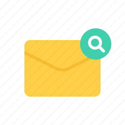 envelope, letter, mail, search icon