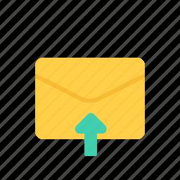 envelope, letter, mail, upload icon