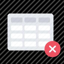 delete, table icon
