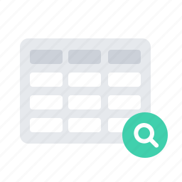 search, table icon