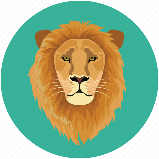 lion, lion face, tiger, wild animal icon