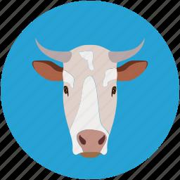 buffalo, cow, cow face, farm pet icon