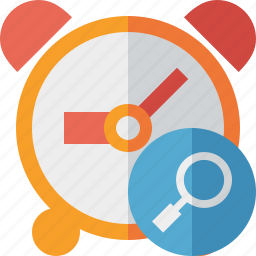 alarm, clock, event, schedule, search, time, timer icon