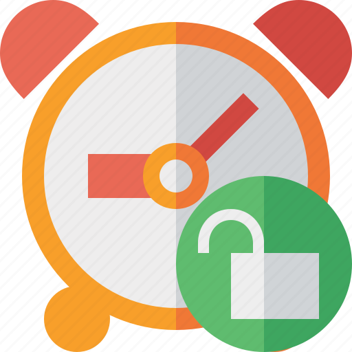 alarm, clock, event, schedule, time, timer, unlock icon