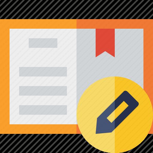 address, book, bookmark, edit, reading icon