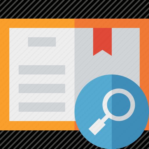 address, book, bookmark, reading, search icon
