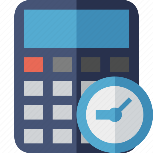 accounting, calculate, calculator, clock, finance, math icon
