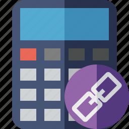 accounting, calculate, calculator, finance, link, math icon