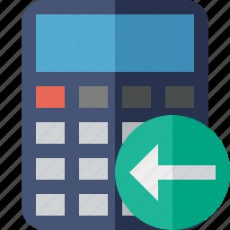 accounting, calculate, calculator, finance, math, previous icon