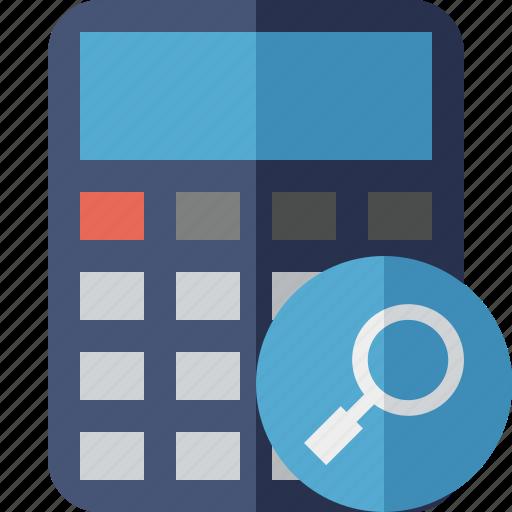 accounting, calculate, calculator, finance, math, search icon