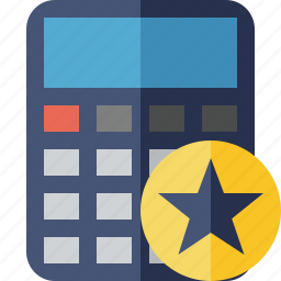 accounting, calculate, calculator, finance, math, star icon